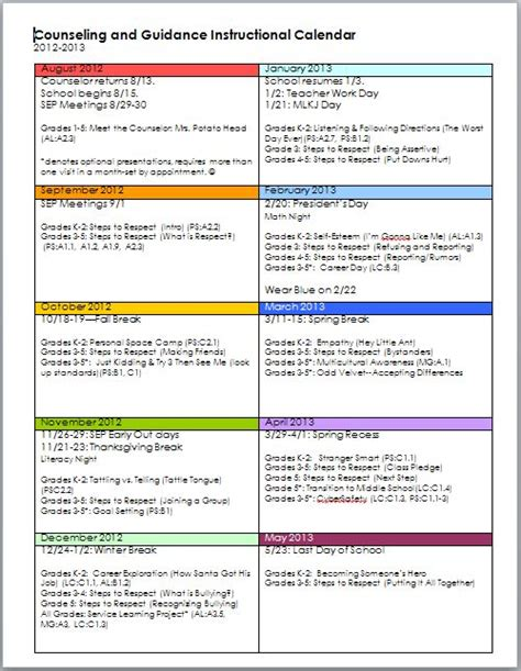 elementary school counseling guidance calendar school