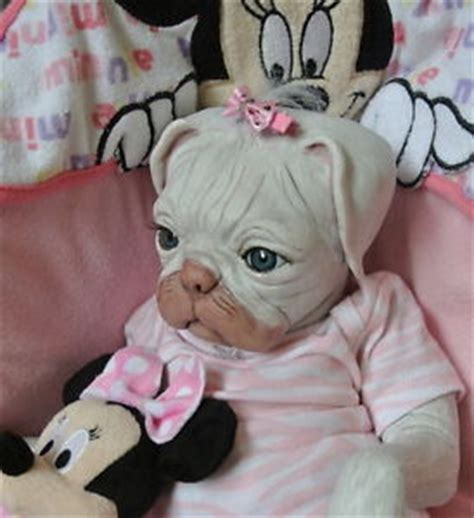 puppy monkey baby doll ooak reborn monkey pug puppy baby doll original newborn ebay