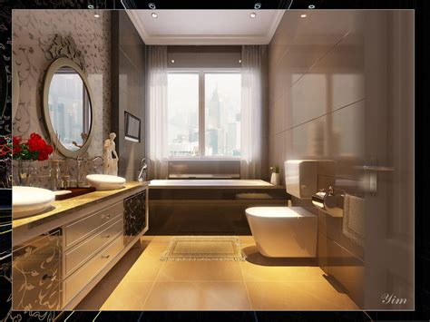luxury bathroom with wonderful tiling ideas interior