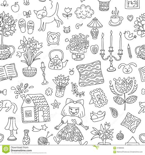 doodle home home sweet home seamless vector pattern with home