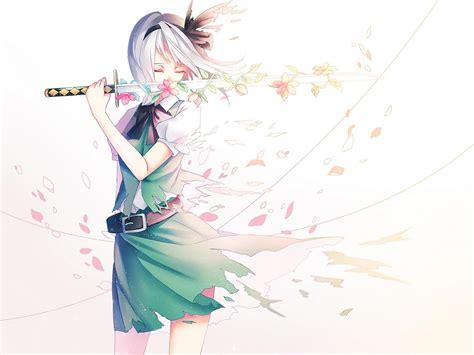 wallpaper anime girl sword anime girl with flower sword desktop background wallpapers