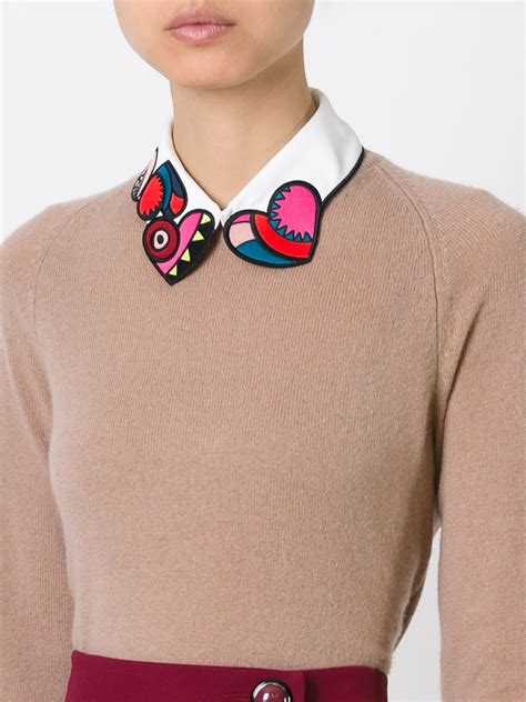 embroidered collar valentino embroidered collar in multicolor white lyst