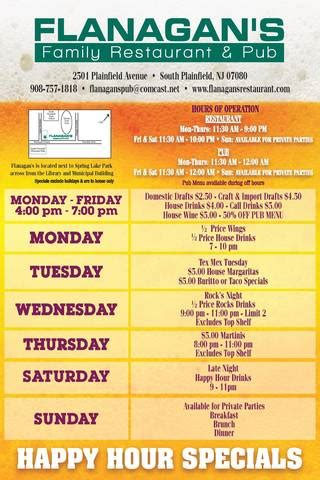 3 Hour Special At Glosscom by Flanagan S Offering New Weekly Food And Drink Specials And