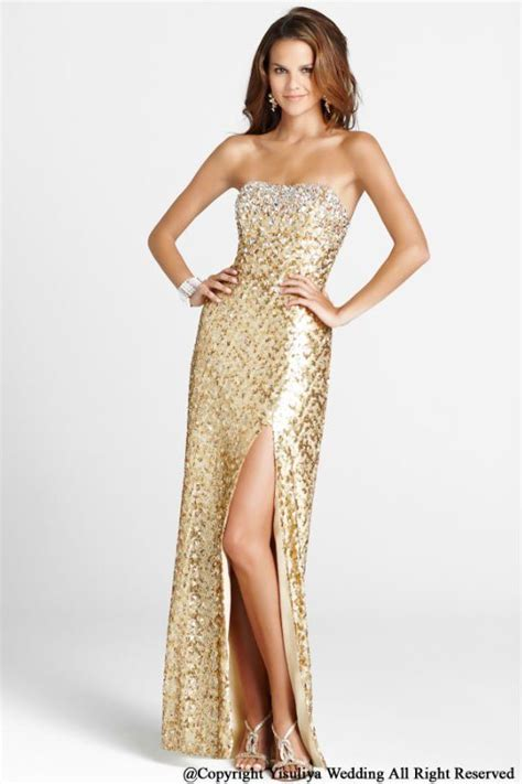 Flow Sequin Dress For Big Size fashion gold sequined strapless evening gown haute