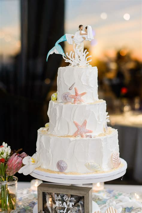 Wedding Cakes by Themed Wedding Cake With Mermaid Cake Topper