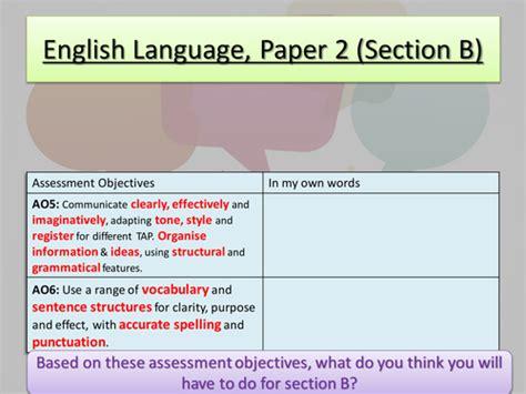 section b aqa language paper 2 section b by tabbym teaching