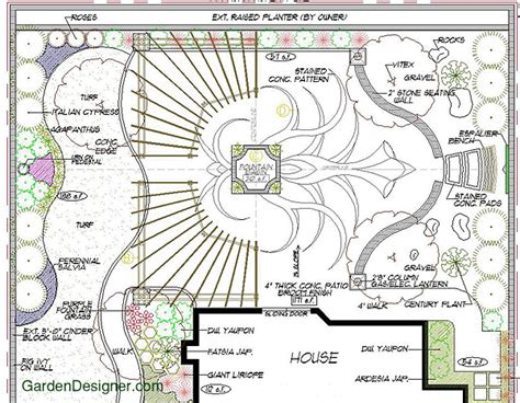 plans design artistic stained concrete floral pattern patio with arbors