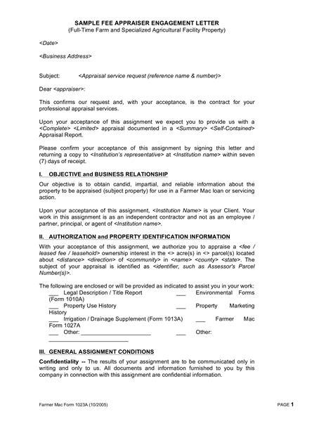 sample appraisal engagement letter templates
