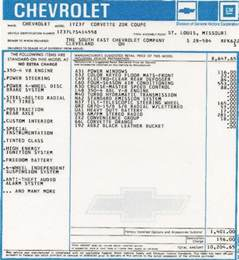 Chevrolet Serial Number Lookup Chevrolet Window Sticker By Vin Number Autos Post