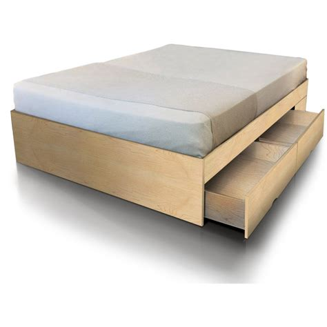 size bed base with storage drawers in maple buy size bed base