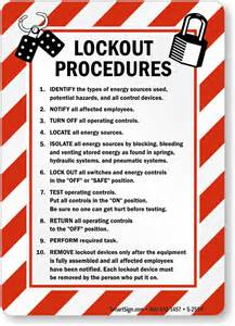 Lock Out Tag Out Procedures Template by Lockout Procedures Sign With Graphic Sku S 2554