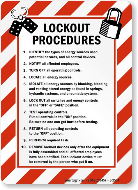 lockout procedures sign with graphic sku s 2554