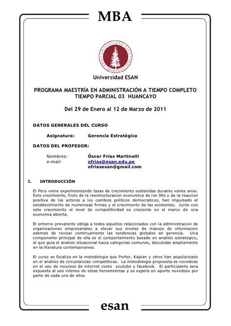 Mba Esan O Centrum by Syllabus Huancayo Geerencia Estrat 233 Gica