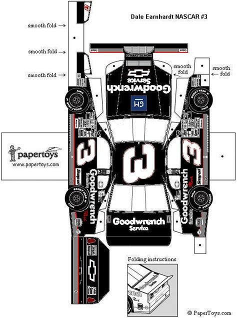 Nascar Papercraft - nascar dale earnhardt 3 paper cutouts by papertoys