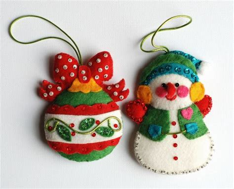 patterns for christmas ornaments of felt vintage felt christmas ornaments with sequins vintage
