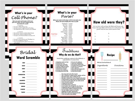 top bridal shower and activities chanel inspired black white stripes bridal shower magical printable