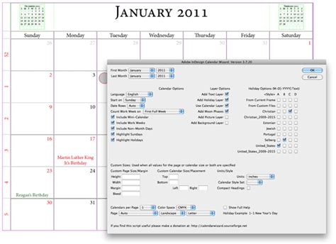 Indesign Calendar Wizard | 15 time saving indesign plugins creative bloq