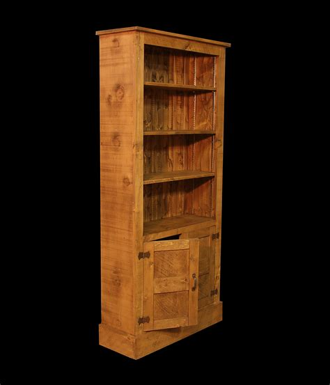 rustic plank bookcase with cupboard storage and adjustable