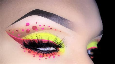 eyeliner tutorial dots sexy neon cut crease with polka dots makeup tutorial youtube