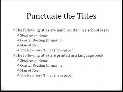 Name Of Book In Essay by Punctuating Titles Title Title Or Title Ppt