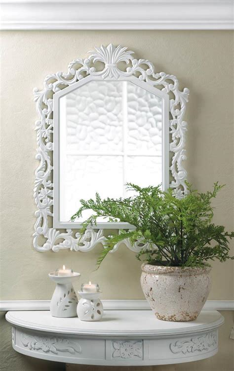 wholesale white carved wood fleur de lis mirror home decor