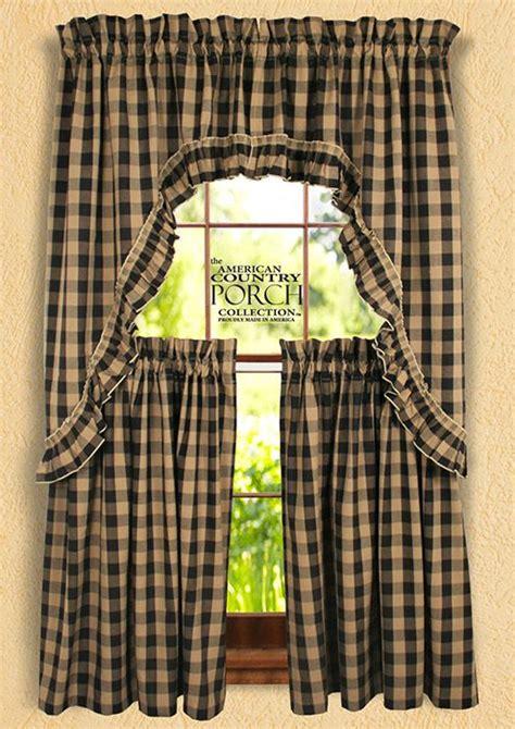 buffalo check curtains black black teadyed buffalo check ruffled window curtain swags