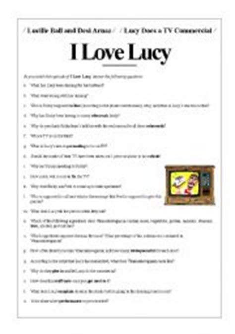 lucy film worksheet english worksheets i love lucy lucy does a commercial