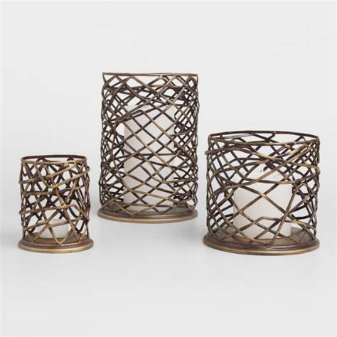 Outdoor Hurricane Candle Holders by Woven Metal Brookyn Hurricane Candleholder World Market