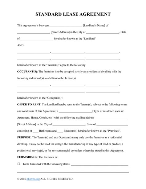 template for a lease agreement doc 740979 printable sle rental lease agreement