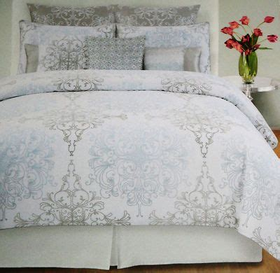 tahari home grey blue damask scroll full queen 3pc duvet
