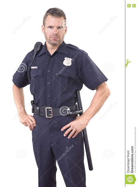 Officer White by Uniformed Officer On White Background Stock Photo