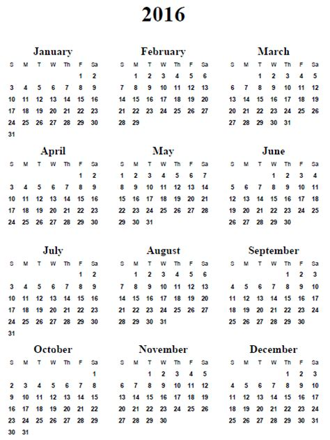printable calendar 2016 entire year 6 best images of calendar 2016 printable 2016 calendar