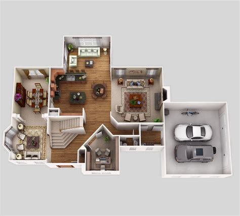 home design 3d 2 story 3d pictures 4bedrooms office sitting room and dinning room 3d house plans