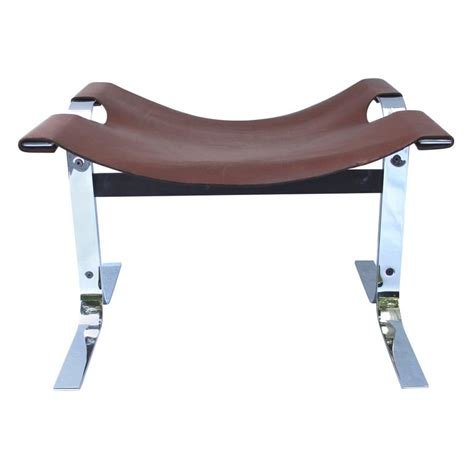 bathtub planetarium sphere sling bench modern leather and steel sling stool or bench