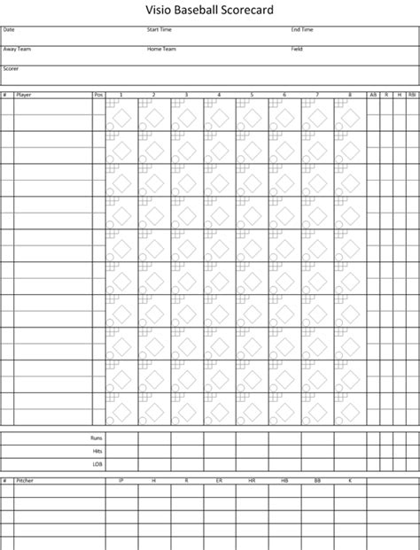 baseball score cards templates visio baseball scorecard visio insights