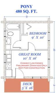 480 Square Feet by Pony Plan 480 Square Feet Cowboy Log Homes