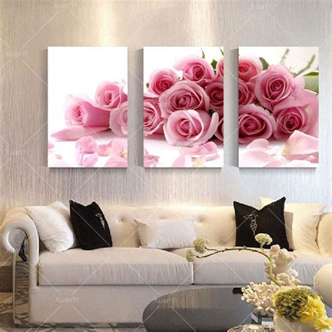 panel modern printed rose flower painting canvas cuadros