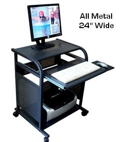 Small Computer Desk 30 Inches Wide Sts5801 Metal Narrow 24 Inch Black All Metal Computer Cart