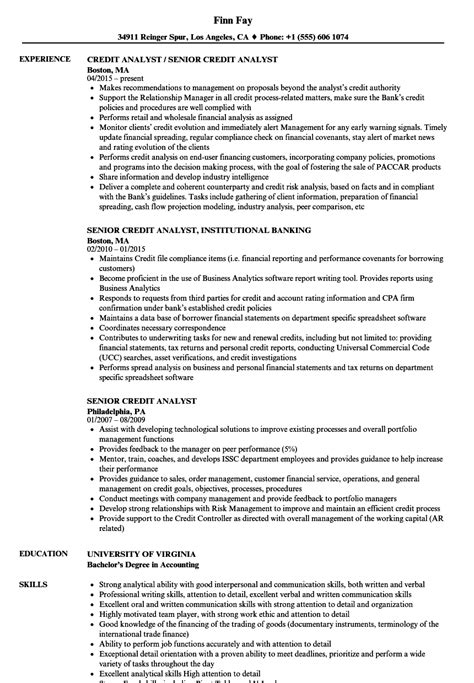 Credit Analyst Resume by Senior Credit Analyst Resume Sles Velvet