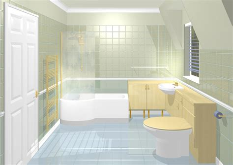 P Shape Shower Bath sloping ceiling bathroom
