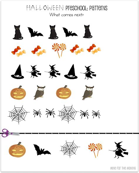 kindergarten halloween pattern worksheets halloween week halloween preschool printables mine for