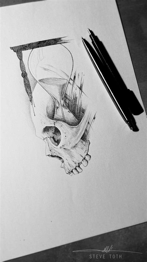 Skull and sand clock, tattoo design | Sanduhr, Sanduhr