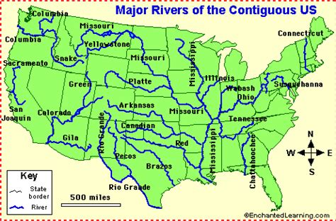 map of us states and major rivers us rivers enchantedlearning