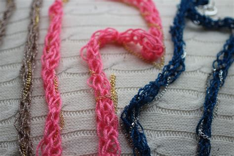 what to do with finger knitting chains diy finger knitting technique and a sparkly necklace