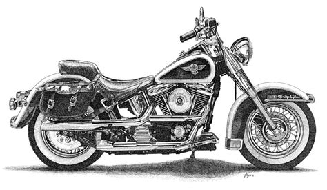 Harley Davidson Drawings by Harley Davidson Heritage Softail Drawing By Aj Grier