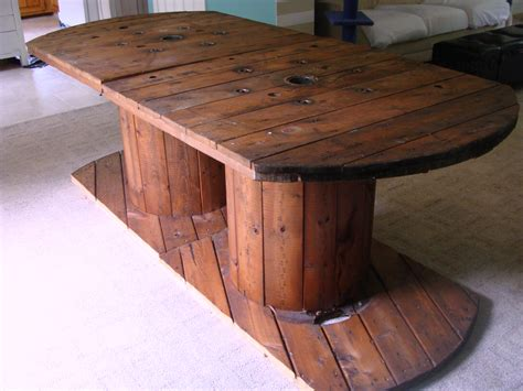 big wooden wire spool s on wire spool tables