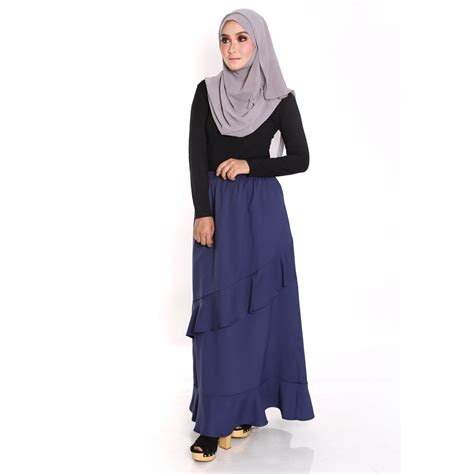 Promo Piyama Wanita Size M Blue Gray Laris frona skirt ruffle panjang elastik malaysia best shopping fashion boutique with clothes