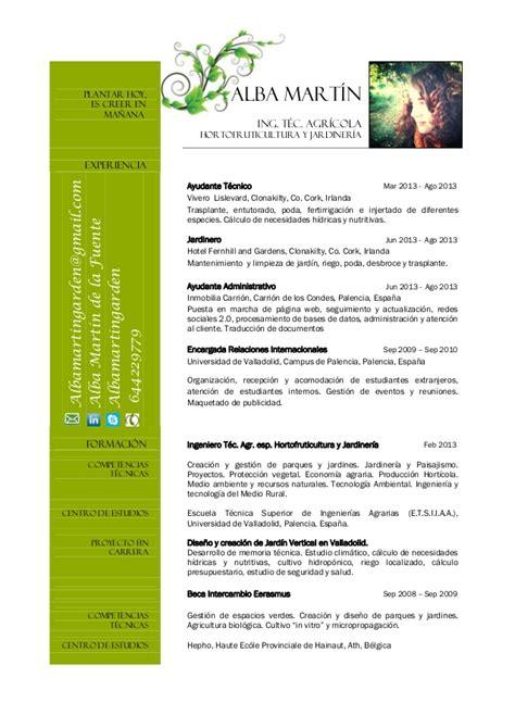 Modelo De Curriculum De Jardinero Alba Mart 237 N Cv 2014