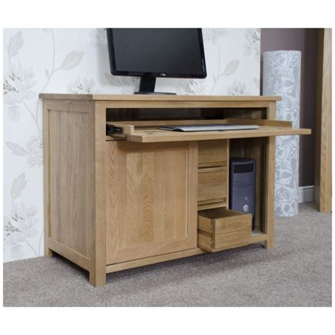 Concealed Computer Desk Nero Solid Oak Furniture Home Office Pc Hideaway Computer Desk Ebay