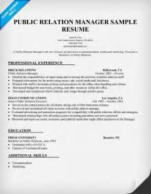 relation manager resume sle pr resume